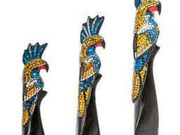23-030 Н-р статуэток из трех «Какаду» дерево стекл. мозаика 50,40,30 см