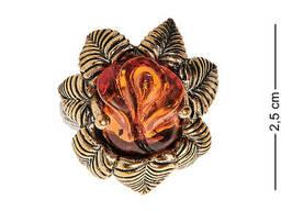 AM-2492 Кольцо «Розочка Нимфа» латунь, янтарь