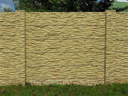 Бетонный забор имитирующий фактуру и окраску натурал. камня