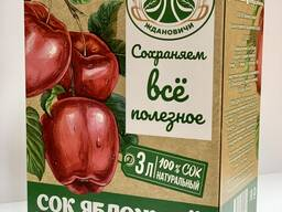 "Cок яблочный прямого отжима в Bag-in-box, 3л. от УП ""Агрокомбинат Ждановичи"""