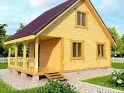 Дачный Дом Рихтер из бруса 6х8, с террасой 12м2