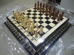 Деревянные шахматы и нарды ручной работы - фото 1