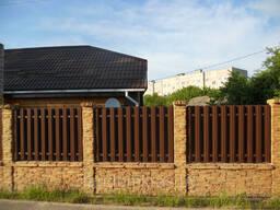 Двухсторонний бетонный забор комб. с металлоштакетником
