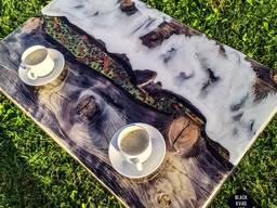 """Эксклюзивный стол из массива и эпоксидной смолы """"Кофе с моло"""