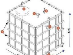 Емкость из нержавейки квадратная под хранение этиленгликоль