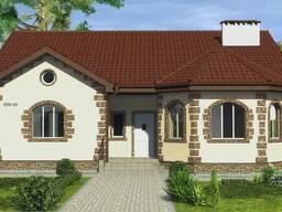 Готовый проект дома из блоков с эркером