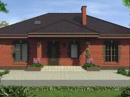 Готовый проект одноэтажного дома из кирпича