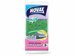 Губки кухонные профилированные 3шт NV Plus (Материал: Пенополиуретан + фибра. Цвет:. ..