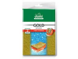 Губки кухонные золото 2 шт DOMI (Состав: поролон-оранжевый, фибра- золотистая. Размер. ..