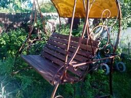 Качеля садовая с навесом и подлакотником