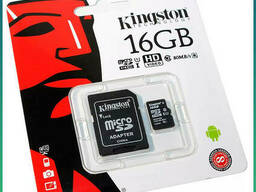 Карта памяти 16GB microSDHC (Kingston 10 класс+SD адаптер)