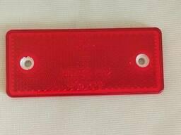 Катафот светоотражатель прямоугольный красный с отверстиями (светоотражающий) на борт. ..