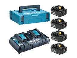 Комплект аккумулятор 18.0 В BL1850B 4 шт. + зарядное устройство DC18RD в кейсе (Набор. ..