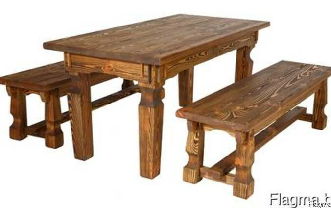 Комплект мебели под старину Столовый (стол и 2 лавки)