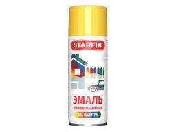 Краска-эмаль аэроз. универсальная желтый Starfix 520мл (1018) (Цинково-желтый, глянцевая)