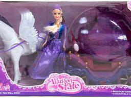 Кукла с каретой и двигающейся лошадью (234A)