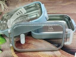 Ланч бокс Lunch Box Tow layers 2-х ярусный, нержавеющая сталь, 1200 мл Голубой