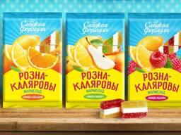 Мармелад«Рознакаляровы» с ароматом апельсина и лимона; дюшеса и лимона; лимона и малины.