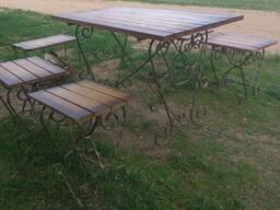 Мебель из дуба на кованом основании для дома, дачи, кафе