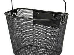 Металлическая быстросъемная корзина для велосипеда на руль (черная)
