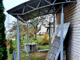 Металлический навес для дома, дачи, офиса. 4.2х2.5 м