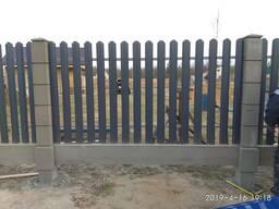 Модульный забор с металлоштакетом с односторонней зашивкой