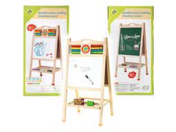 Мольберт деревянный двухсторонний детский со счетами, доска обучающая арт. VT20-10149