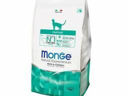 Monge Cat Hairball - корм для взрослых кошек с чувств. пищ-ем, для выведения комков. ..