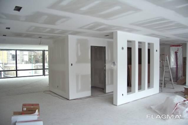 Монтаж гипсокартона- потолок, стены, ниши