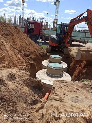 Монтаж наружной канализации из ж. б. колец под ключ.