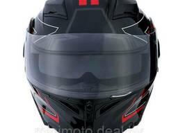 Шлем 1STORM HB89 модуляр (с очками) черный матовый M