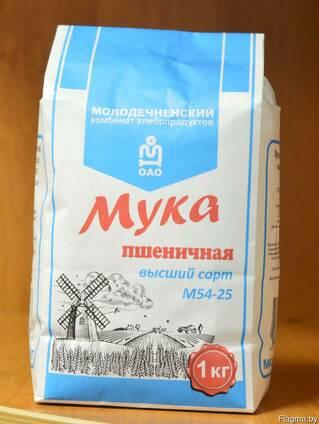 Мука пшеничная высшего сорта М54-25 фасовка по 2 кг