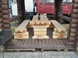 Набор мебели из оцилиндрованного бревна