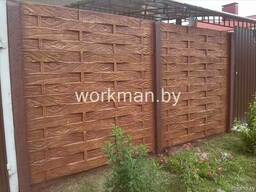 Покраска декоративная бетонный забор