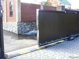 Откатные ворота из металллопрофиля и панелей. Рассрочка