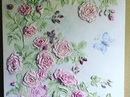 Панно декоративное (барельеф) под заказ Розовый куст