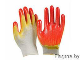 Перчатки двойной облив (желтокрасный)