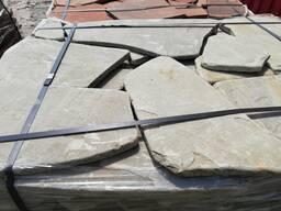 Натуральный камень песчаник серо-зелёный галтованый 1. 5 см