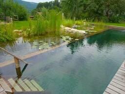 Природный плавательный бассейн, водоём. Плёнка, подложка