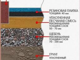 Резиновое плиточное покрытие с укладкой на грунт