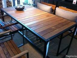 Садовая мебель из металла и дерева (столы и стулья)
