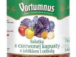 Салат из красной капусты с яблоком и луком