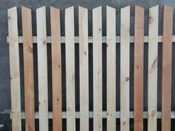 Штакетник деревянный. Забор деревянный. Вариант 2