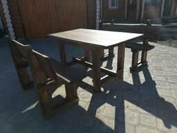 Скамейка и стол из дерева (садовая мебель)