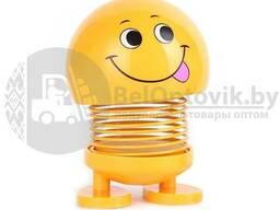Смайлик на пружине с липучкой Smailiung Face/игрушка антистрессовая для панели в авто