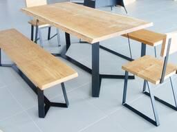 Стол обеденный дубовый в комплекте стулья/лавки (массив, масло) LOFT-004