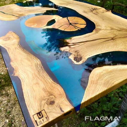 Стол-река, эксклюзивные слэбы, изготовление под заказ
