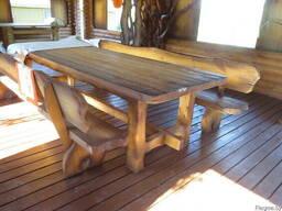 Стол , скамейка деревянные. - фото 3