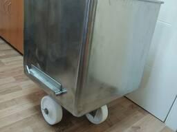 Тележка-чан 100л из нержавейки, чебурашка, сталь AISI304, для фарша