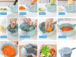 Терка для овощей Овощерезка 8 в 1 Kithen Cutter 4 насадки с чашкой дуршлагом